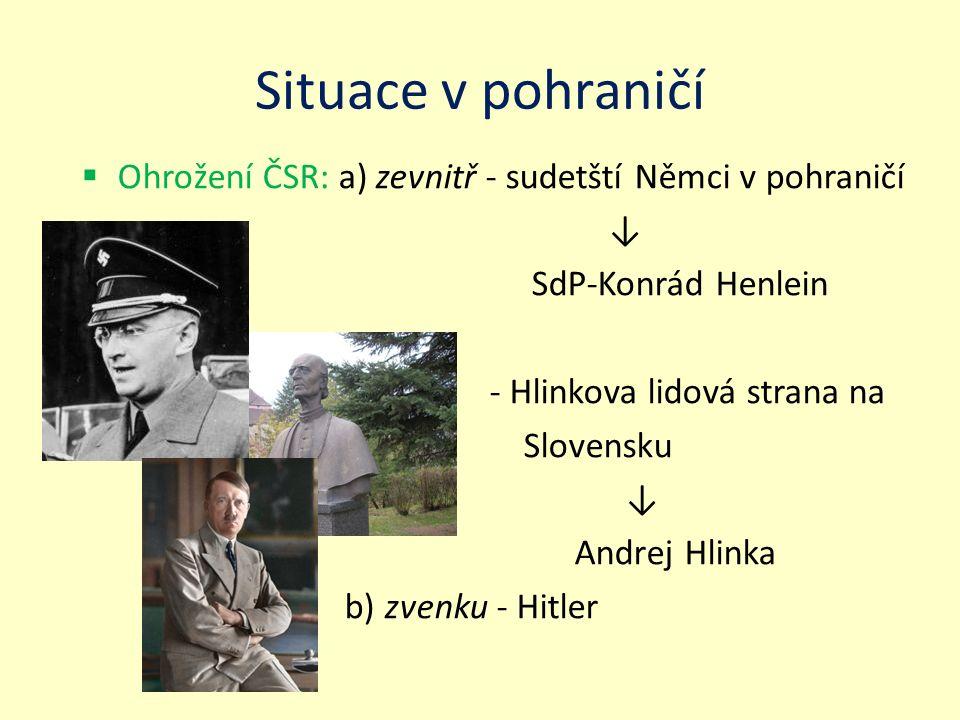 """Situace v pohraničí  Úsilí Hitlera zlikvidovat ČSR - důvody: a) strategicky významná poloha ČSR b) vyspělý průmysl (strojní, zbrojařský, hutě, doly) c) spojenectví ČSR s Francií d) emigrace mnohých Němců do ČSR e) početná německá menši(""""ochrana českých Němců )"""