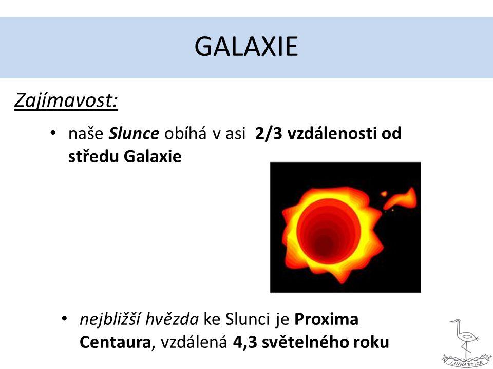 GALAXIE naše Slunce obíhá v asi 2/3 vzdálenosti od středu Galaxie nejbližší hvězda ke Slunci je Proxima Centaura, vzdálená 4,3 světelného roku Zajímavost:
