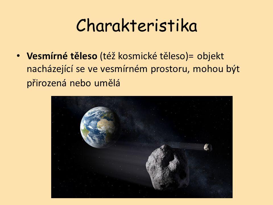 Charakteristika Vesmírné těleso (též kosmické těleso)= objekt nacházející se ve vesmírném prostoru, mohou být přirozená nebo umělá