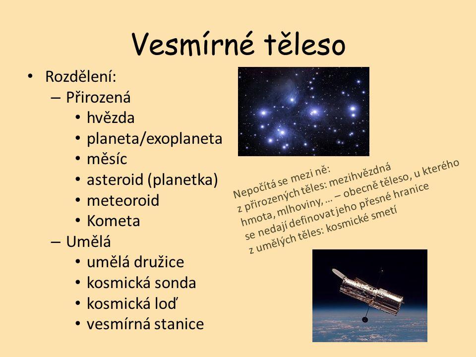 Vesmírné těleso Rozdělení: – Přirozená hvězda planeta/exoplaneta měsíc asteroid (planetka) meteoroid Kometa – Umělá umělá družice kosmická sonda kosmická loď vesmírná stanice Nepočítá se mezi ně: z přirozených těles: mezihvězdná hmota, mlhoviny, … – obecně těleso, u kterého se nedají definovat jeho přesné hranice z umělých těles: kosmické smetí