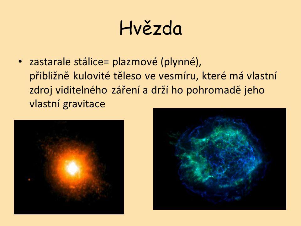 Hvězda zastarale stálice= plazmové (plynné), přibližně kulovité těleso ve vesmíru, které má vlastní zdroj viditelného záření a drží ho pohromadě jeho vlastní gravitace