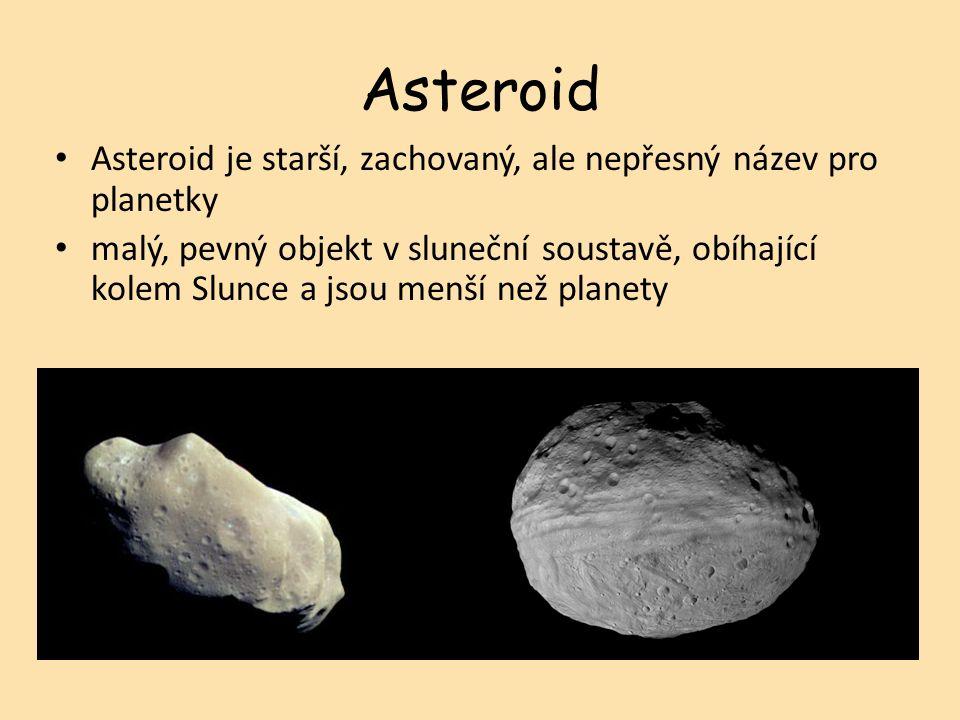 Asteroid Asteroid je starší, zachovaný, ale nepřesný název pro planetky malý, pevný objekt v sluneční soustavě, obíhající kolem Slunce a jsou menší než planety