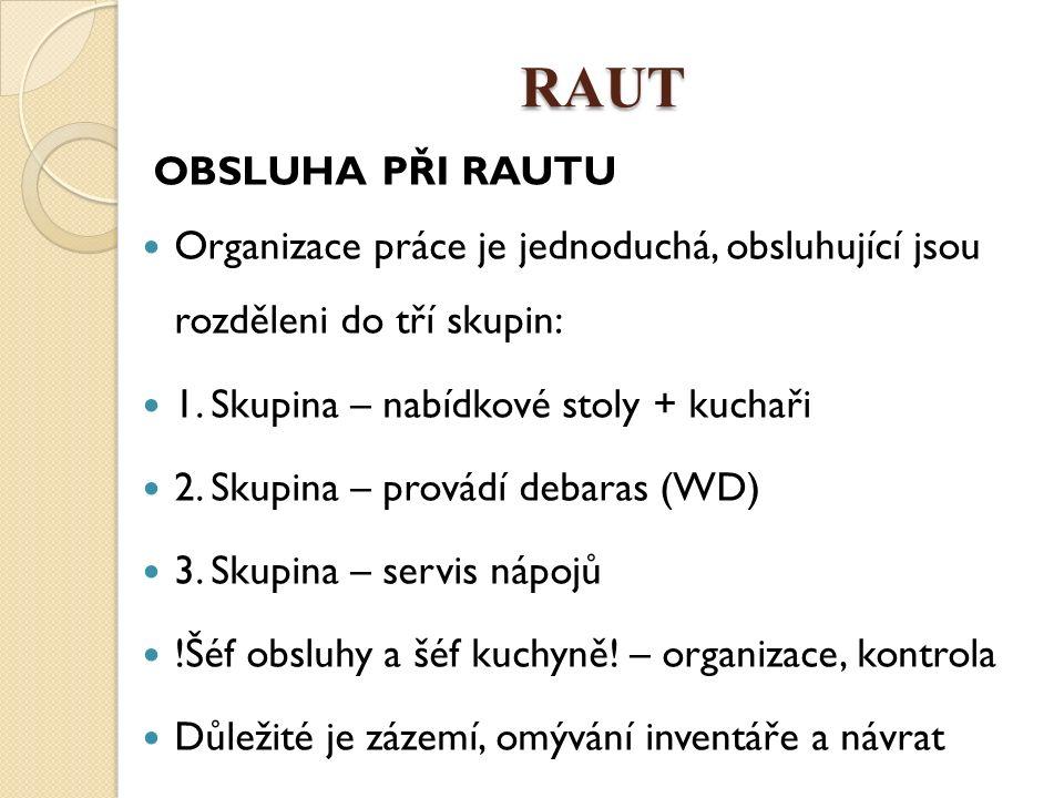 RAUT OBSLUHA PŘI RAUTU Organizace práce je jednoduchá, obsluhující jsou rozděleni do tří skupin: 1. Skupina – nabídkové stoly + kuchaři 2. Skupina – p