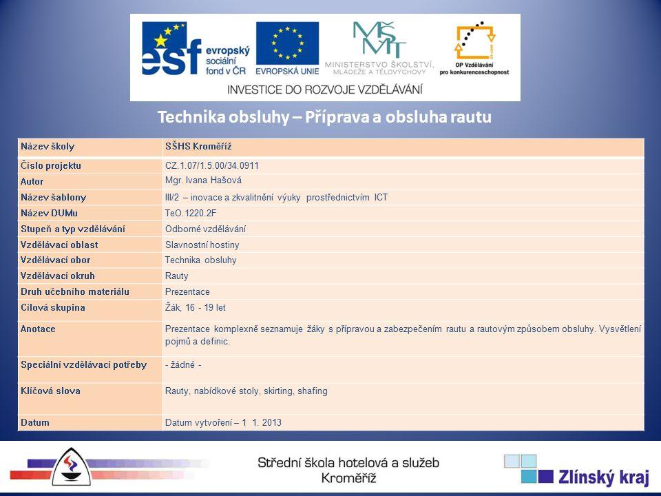 Technika obsluhy – Příprava a obsluha rautu Název školySŠHS Kroměříž Číslo projektuCZ.1.07/1.5.00/34.0911 Autor Mgr.