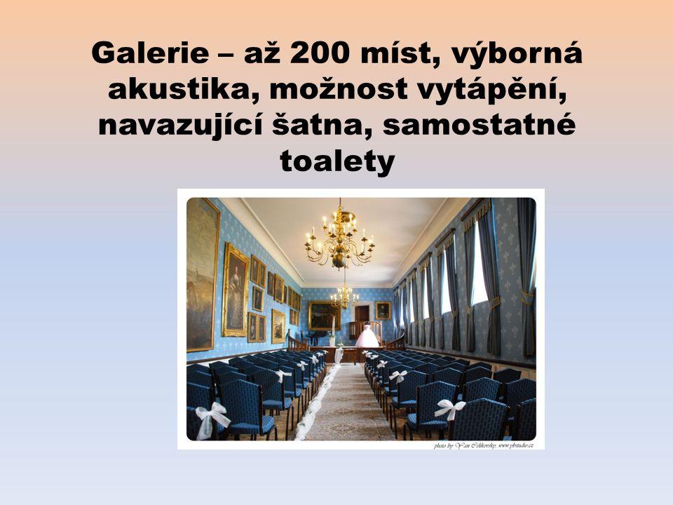 Galerie – až 200 míst, výborná akustika, možnost vytápění, navazující šatna, samostatné toalety