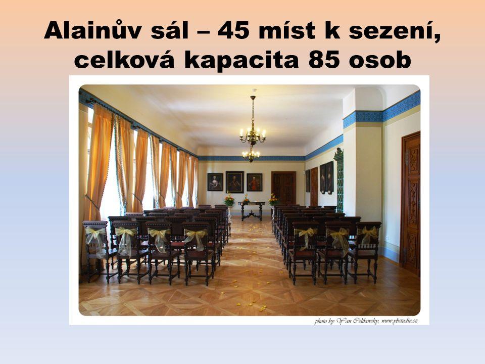 Alainův sál – 45 míst k sezení, celková kapacita 85 osob