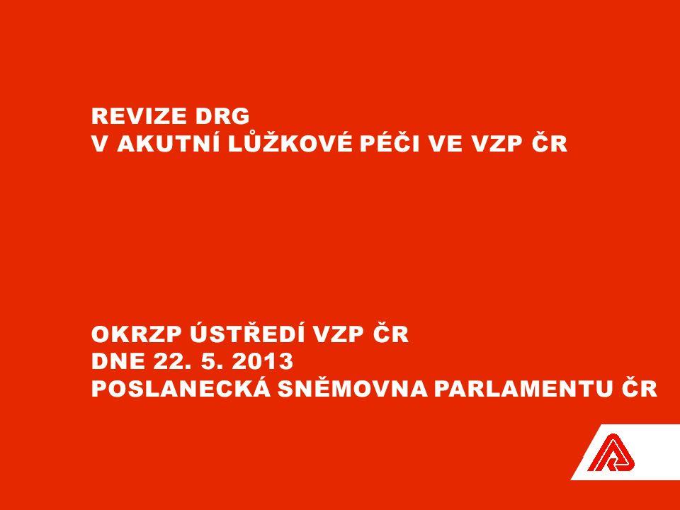 REVIZE DRG V AKUTNÍ LŮŽKOVÉ PÉČI VE VZP ČR OKRZP ÚSTŘEDÍ VZP ČR DNE 22.