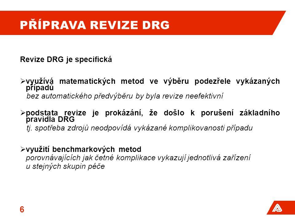 PŘÍPRAVA REVIZE DRG Revize DRG je specifická  využívá matematických metod ve výběru podezřele vykázaných případů bez automatického předvýběru by byla revize neefektivní  podstata revize je prokázání, že došlo k porušení základního pravidla DRG tj.