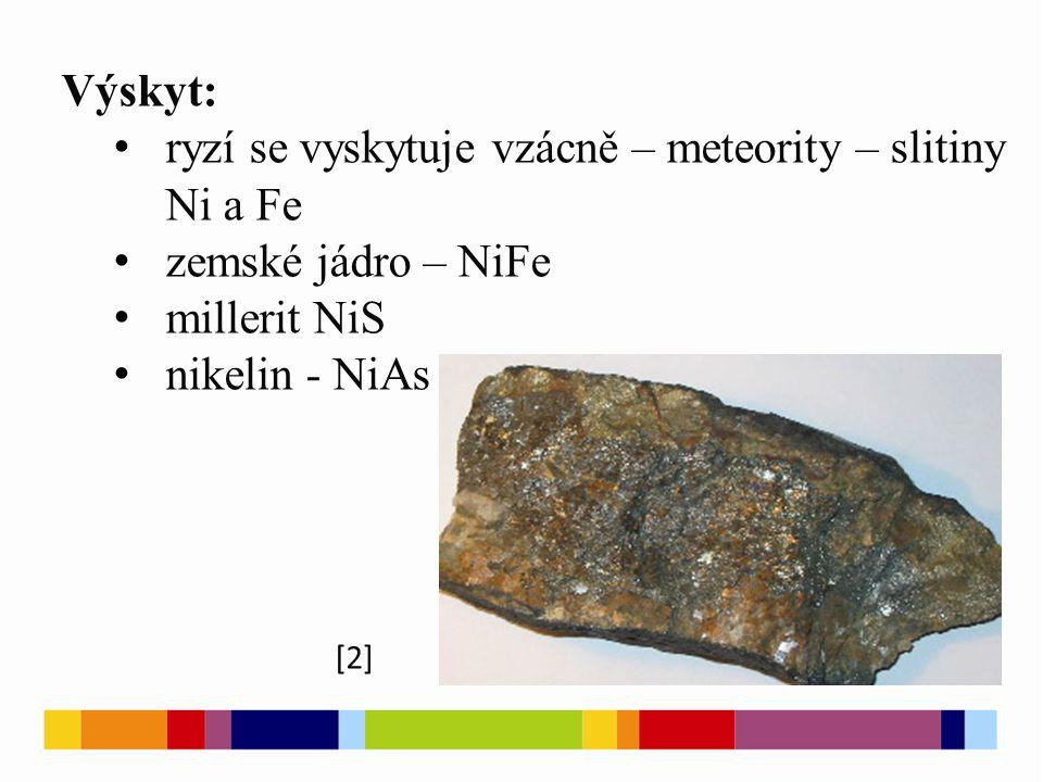 Výskyt: ryzí se vyskytuje vzácně – meteority – slitiny Ni a Fe zemské jádro – NiFe millerit NiS nikelin - NiAs [2]