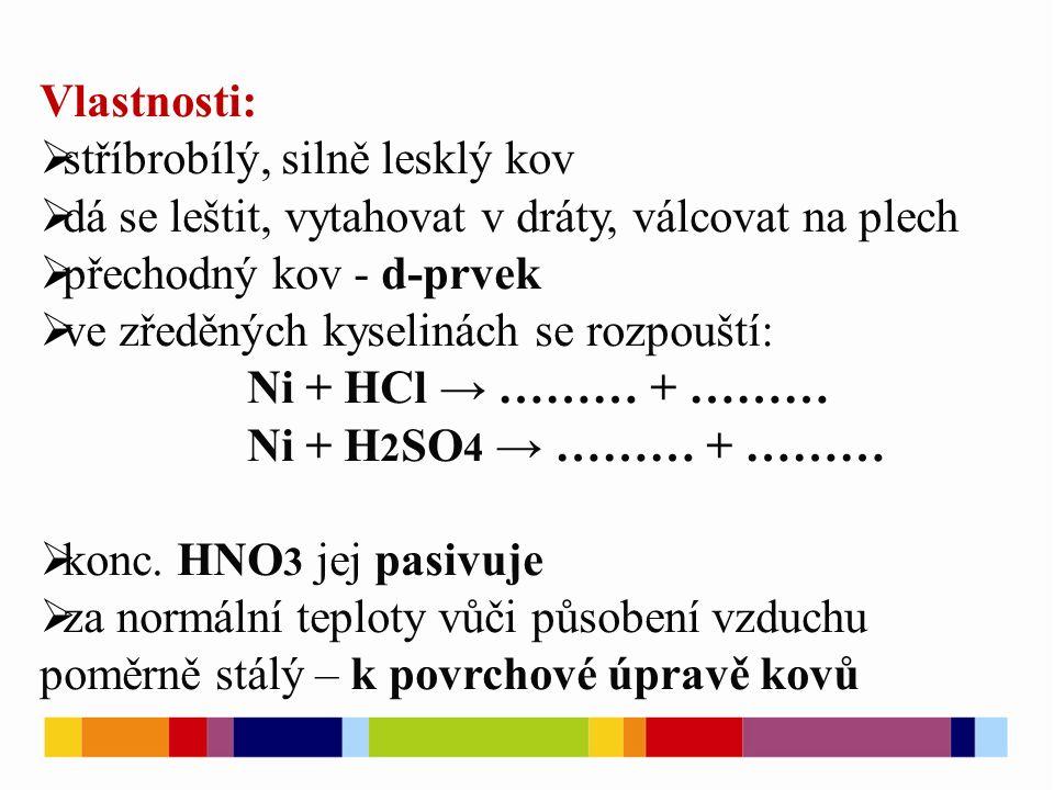 Vlastnosti:  stříbrobílý, silně lesklý kov  dá se leštit, vytahovat v dráty, válcovat na plech  přechodný kov - d-prvek  ve zředěných kyselinách se rozpouští: Ni + HCl → ……… + ……… Ni + H 2 SO 4 → ……… + ………  konc.