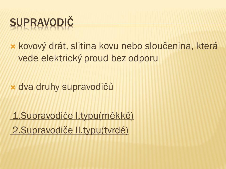  kovový drát, slitina kovu nebo sloučenina, která vede elektrický proud bez odporu  dva druhy supravodičů 1.Supravodiče I.typu(měkké) 2.Supravodiče II.typu(tvrdé)
