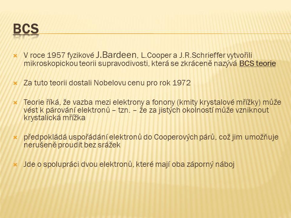  V roce 1957 fyzikové J.Bardeen, L.Cooper a J.R.Schrieffer vytvořili mikroskopickou teorii supravodivosti, která se zkráceně nazývá BCS teorie  Za tuto teorii dostali Nobelovu cenu pro rok 1972  Teorie říká, že vazba mezi elektrony a fonony (kmity krystalové mřížky) může vést k párování elektronů – tzn.