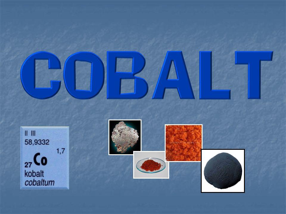 - leskle stříbřitý kov s modrým nádechem - málo reaktivní - za zvýšené teploty reaguje s halogeny, borem, uhlíkem, fosforem, arsenem a sírou - nereaguje s vodíkem a dusíkem - neochotně reaguje s kyselinami za vzniku kobaltnatých solí