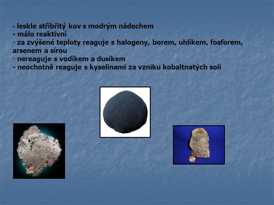 - leskle stříbřitý kov s modrým nádechem - málo reaktivní - za zvýšené teploty reaguje s halogeny, borem, uhlíkem, fosforem, arsenem a sírou - nereagu