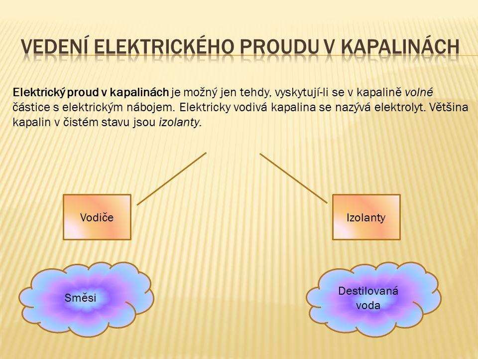 Elektrický proud v kapalinách je možný jen tehdy, vyskytují-li se v kapalině volné částice s elektrickým nábojem. Elektricky vodivá kapalina se nazývá