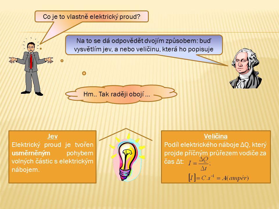 Veličina Podíl elektrického náboje ΔQ, který projde příčným průřezem vodiče za čas Δt: Jev Elektrický proud je tvořen usměrněným pohybem volných částic s elektrickým nábojem.