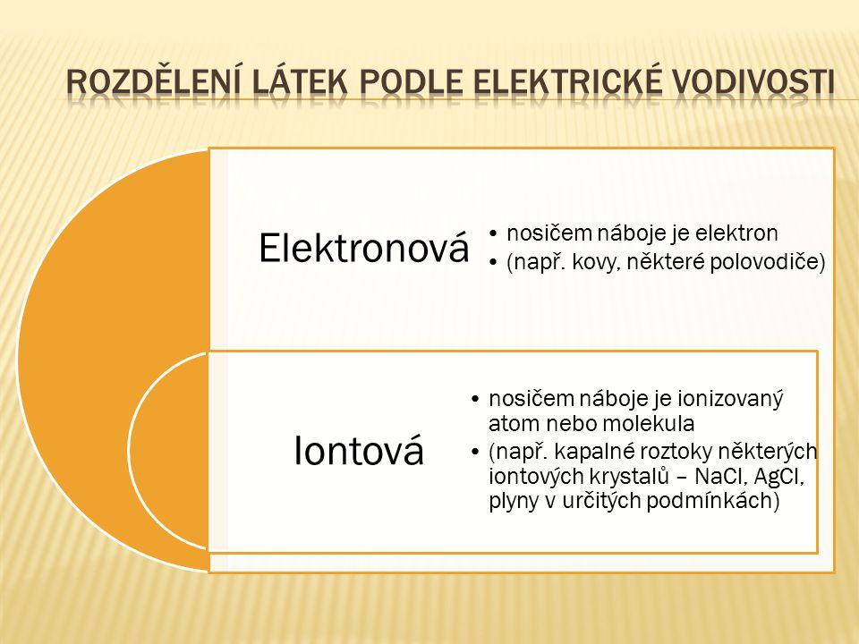 Elektronová Iontová nosičem náboje je elektron (např. kovy, některé polovodiče) nosičem náboje je ionizovaný atom nebo molekula (např. kapalné roztoky