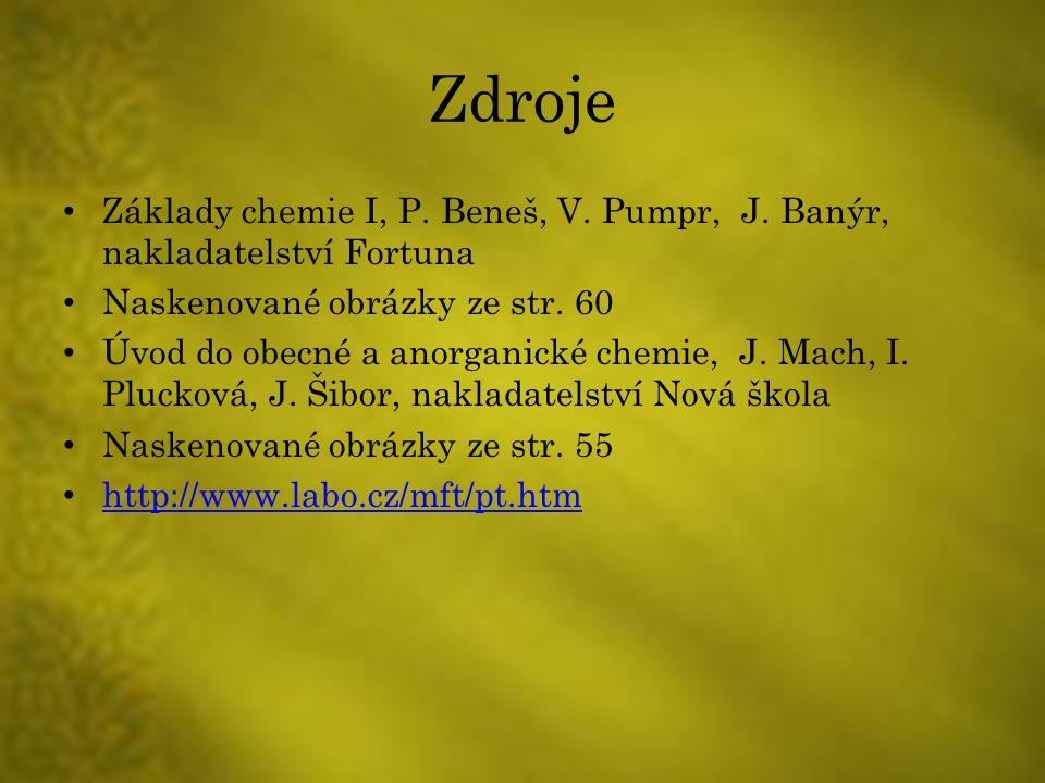 Zdroje Základy chemie I, P. Beneš, V. Pumpr, J.