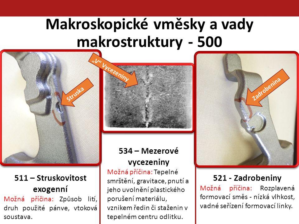 Makroskopické vměsky a vady makrostruktury - 500 Struska 511 – Struskovitost exogenní Možná příčina: Způsob lití, druh použité pánve, vtoková soustava