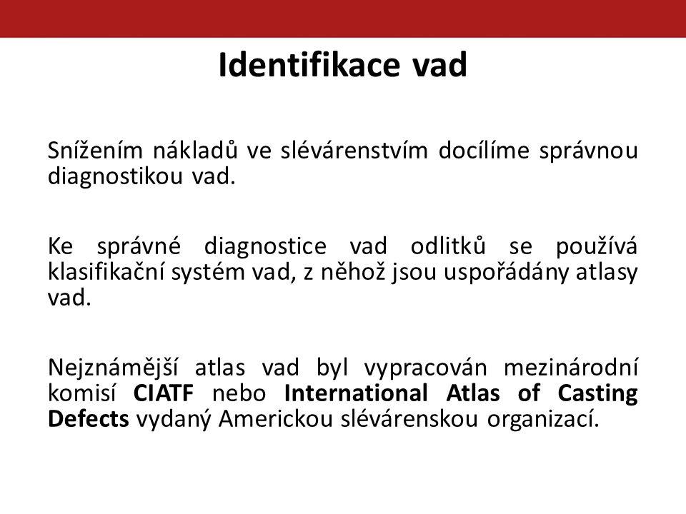Identifikace vad Snížením nákladů ve slévárenstvím docílíme správnou diagnostikou vad.