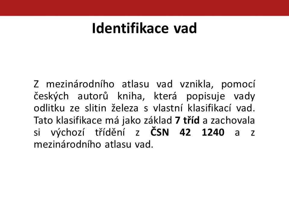 Identifikace vad Z mezinárodního atlasu vad vznikla, pomocí českých autorů kniha, která popisuje vady odlitku ze slitin železa s vlastní klasifikací v