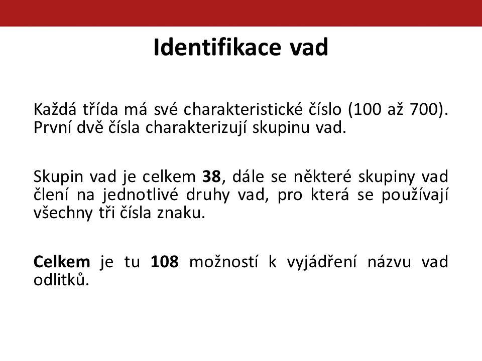 Identifikace vad Každá třída má své charakteristické číslo (100 až 700). První dvě čísla charakterizují skupinu vad. Skupin vad je celkem 38, dále se