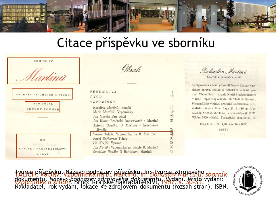 Citace příspěvku ve sborníku TALICH, Václav. Vzpomínka na B.