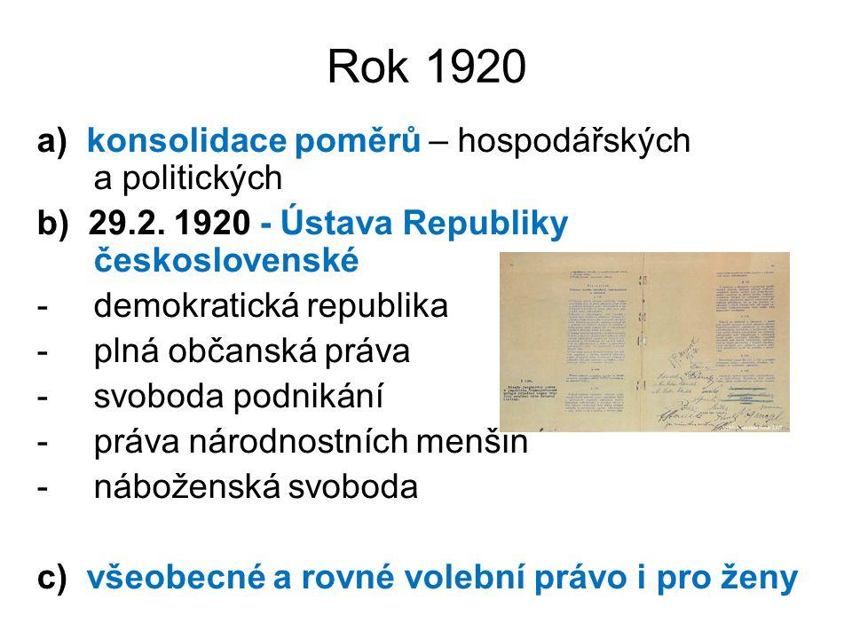 Rok 1920 a) konsolidace poměrů – hospodářských a politických b) 29.2. 1920 - Ústava Republiky československé -demokratická republika -plná občanská pr