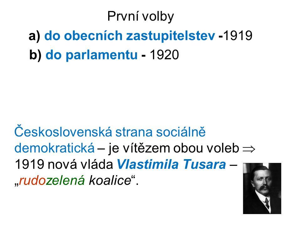 """První volby a) do obecních zastupitelstev -1919 b) do parlamentu - 1920 Československá strana sociálně demokratická – je vítězem obou voleb  1919 nová vláda Vlastimila Tusara – """"rudozelená koalice ."""
