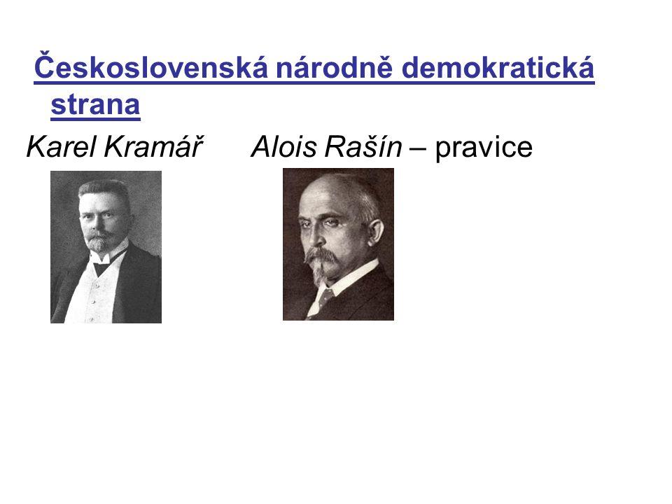 Československá národně demokratická strana Karel Kramář Alois Rašín – pravice
