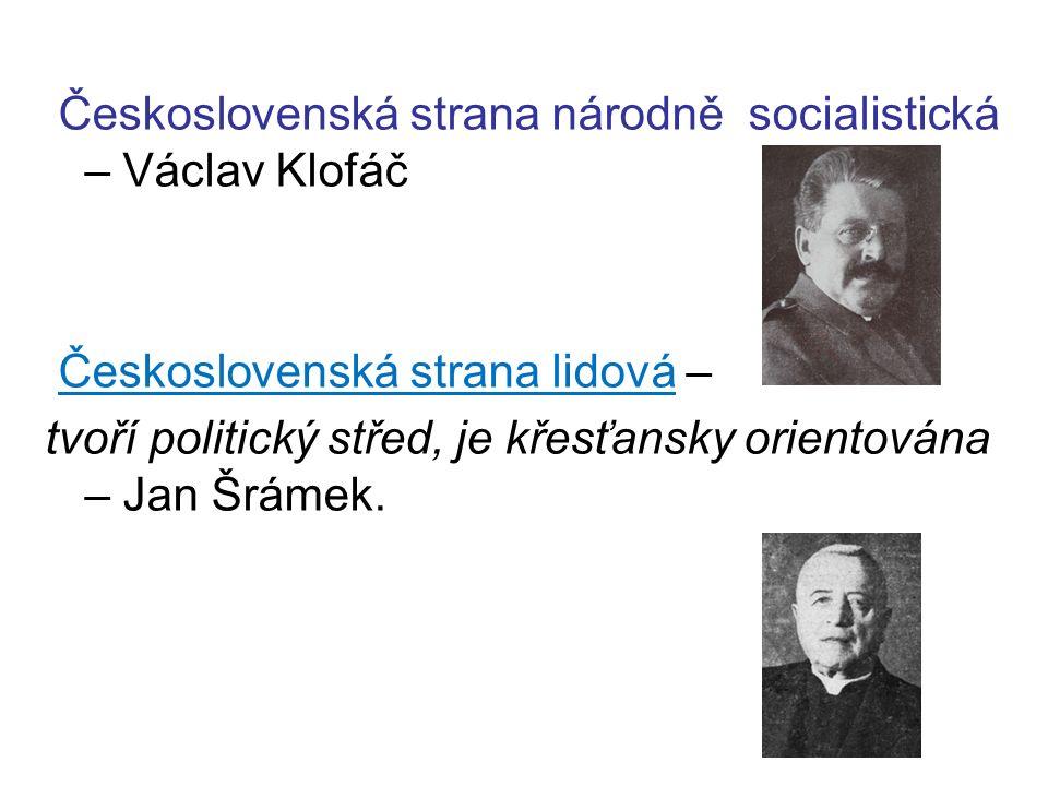 Československá strana národně socialistická – Václav Klofáč Československá strana lidová – tvoří politický střed, je křesťansky orientována – Jan Šrámek.