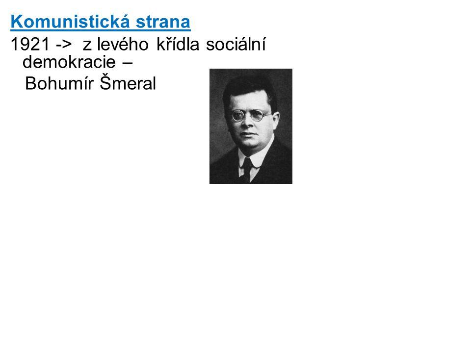 Komunistická strana 1921 -> z levého křídla sociální demokracie – Bohumír Šmeral
