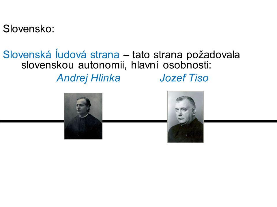 Slovensko: Slovenská ĺudová strana – tato strana požadovala slovenskou autonomii, hlavní osobnosti: Andrej Hlinka Jozef Tiso