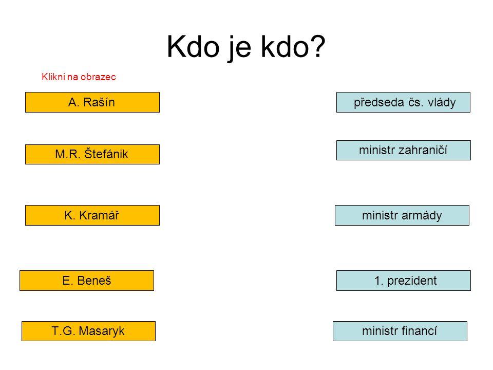 Kdo je kdo? A. Rašín M.R. Štefánik K. Kramář E. Beneš T.G. Masaryk předseda čs. vlády ministr zahraničí ministr armády ministr financí 1. prezident Kl