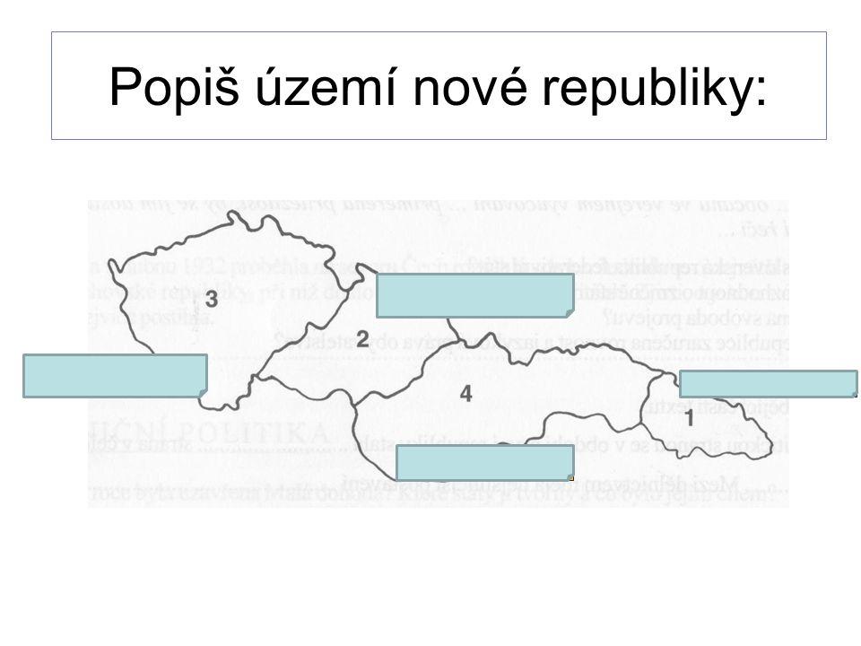 Popiš území nové republiky: ČECHY MORAVA SLOVENSKO PODKARPATSÁ RUS