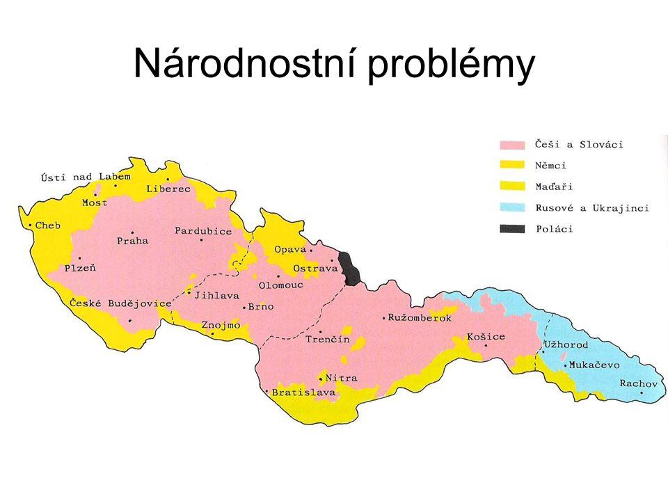 ČSR – vzniká jako většinový národní stát Čechů a Slováků existují zde početné menšiny : Němci, Maďaři, Poláci, Židé, Rusíni