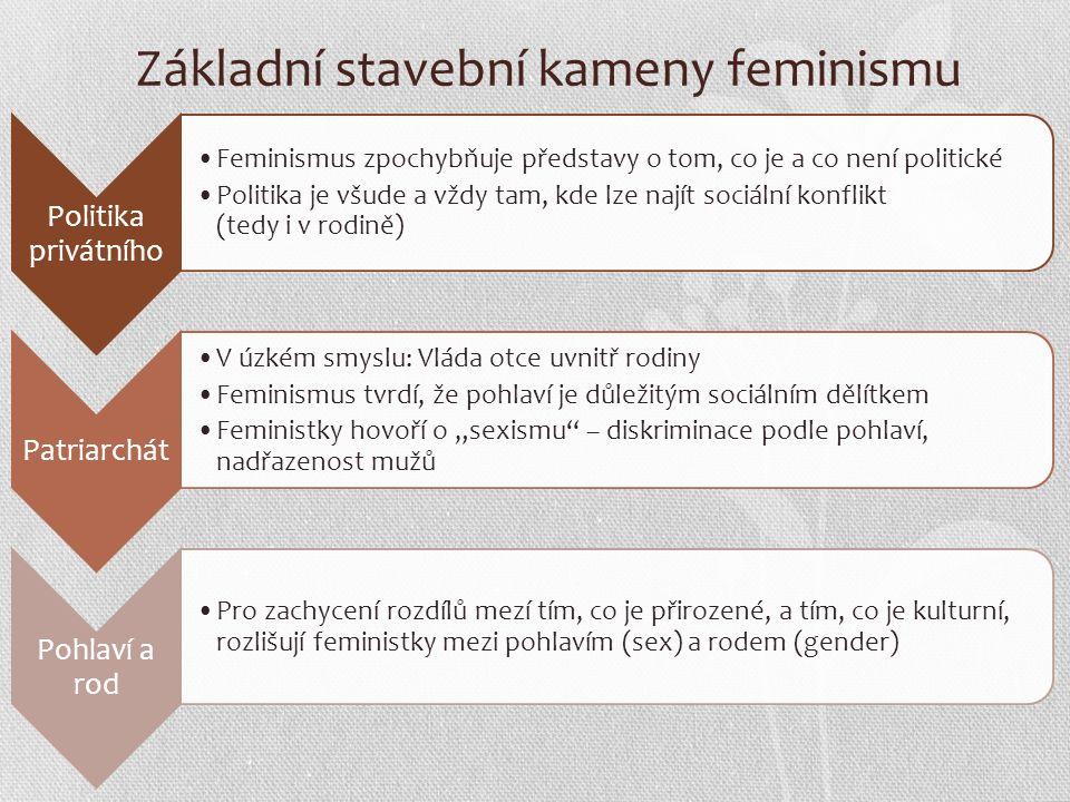 """Základní stavební kameny feminismu Politika privátního Feminismus zpochybňuje představy o tom, co je a co není politické Politika je všude a vždy tam, kde lze najít sociální konflikt (tedy i v rodině) Patriarchát V úzkém smyslu: Vláda otce uvnitř rodiny Feminismus tvrdí, že pohlaví je důležitým sociálním dělítkem Feministky hovoří o """"sexismu – diskriminace podle pohlaví, nadřazenost mužů Pohlaví a rod Pro zachycení rozdílů mezí tím, co je přirozené, a tím, co je kulturní, rozlišují feministky mezi pohlavím (sex) a rodem (gender)"""