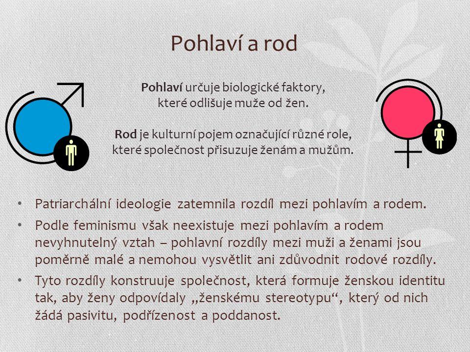 Pohlaví a rod Patriarchální ideologie zatemnila rozdíl mezi pohlavím a rodem.