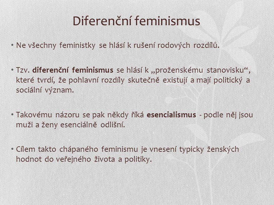 Diferenční feminismus Ne všechny feministky se hlásí k rušení rodových rozdílů.