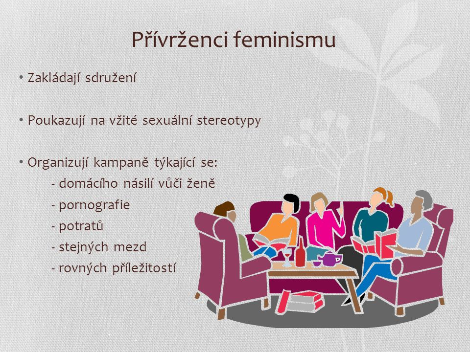 Prosazování cílů K prosazování svých cílů feministická hnutí: Pořádají přednášky Vystupují na protestních akcích Jednají s úřady, poslanci a senátory Organizují petice