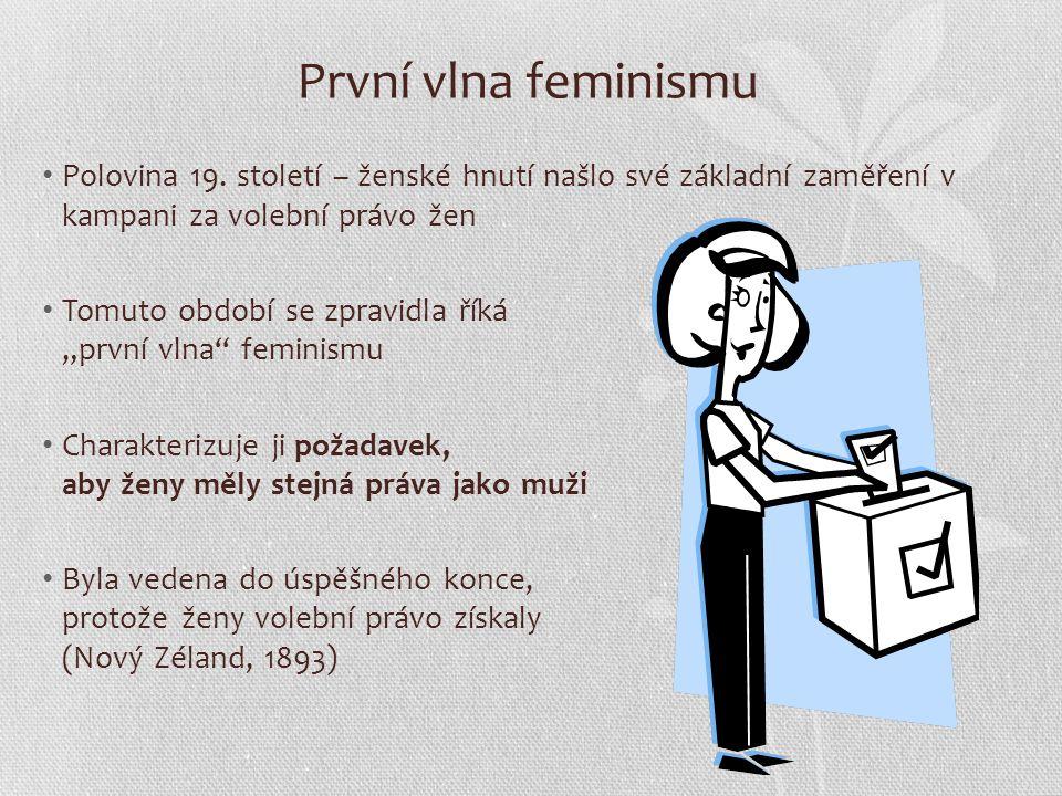 Druhá vlna feminismu 60.léta 20. století Feministické hnutí znovu nabylo síly s příchodem tzv.