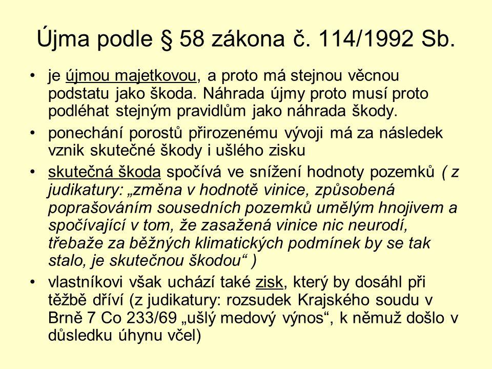 Újma podle § 58 zákona č. 114/1992 Sb.