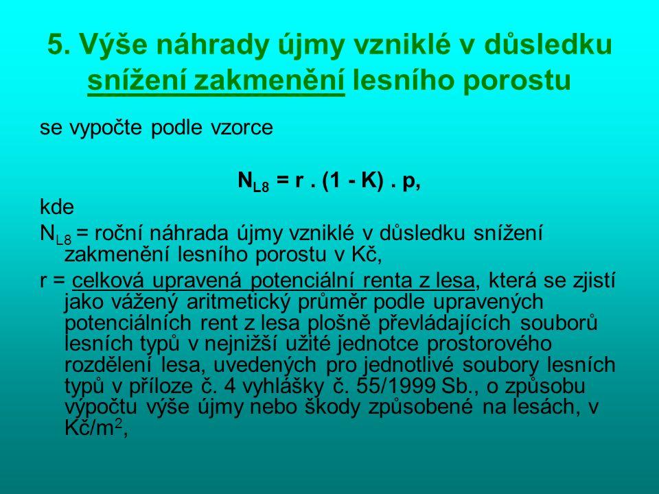 5. Výše náhrady újmy vzniklé v důsledku snížení zakmenění lesního porostu se vypočte podle vzorce N L8 = r. (1 - K). p, kde N L8 = roční náhrada újmy