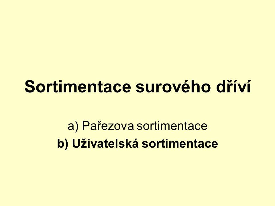 Sortimentace surového dříví a) Pařezova sortimentace b) Uživatelská sortimentace