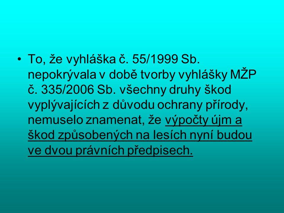 To, že vyhláška č. 55/1999 Sb. nepokrývala v době tvorby vyhlášky MŽP č. 335/2006 Sb. všechny druhy škod vyplývajících z důvodu ochrany přírody, nemus