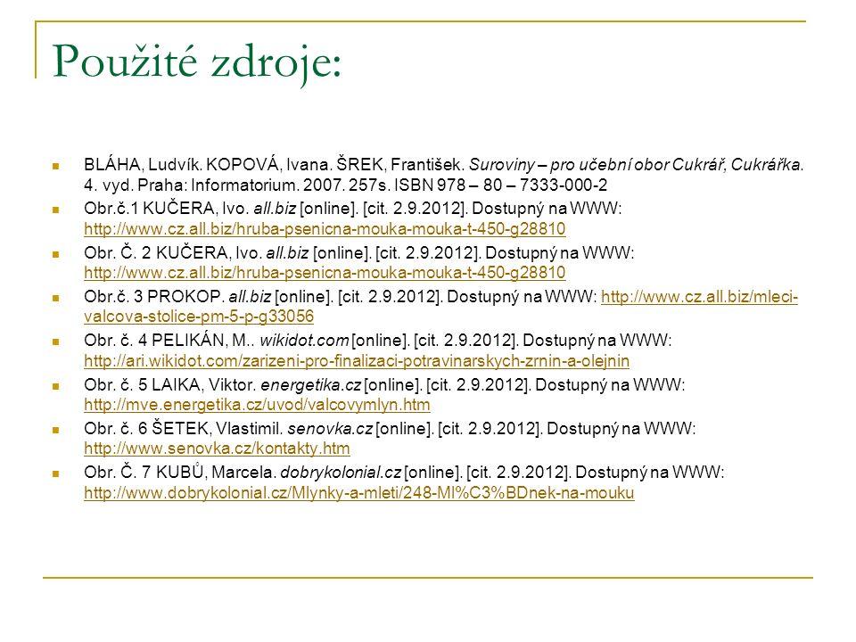 Použité zdroje: BLÁHA, Ludvík. KOPOVÁ, Ivana. ŠREK, František. Suroviny – pro učební obor Cukrář, Cukrářka. 4. vyd. Praha: Informatorium. 2007. 257s.