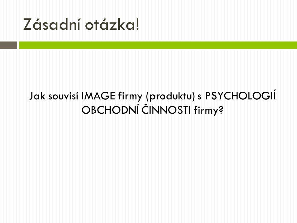 Zásadní otázka! Jak souvisí IMAGE firmy (produktu) s PSYCHOLOGIÍ OBCHODNÍ ČINNOSTI firmy?