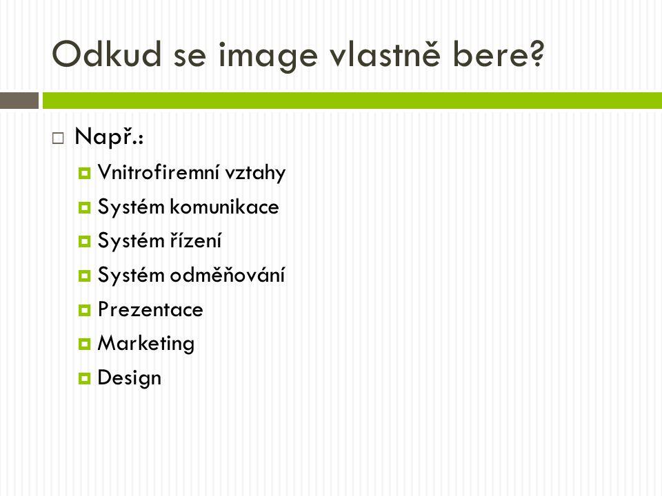 Odkud se image vlastně bere?  Např.:  Vnitrofiremní vztahy  Systém komunikace  Systém řízení  Systém odměňování  Prezentace  Marketing  Design