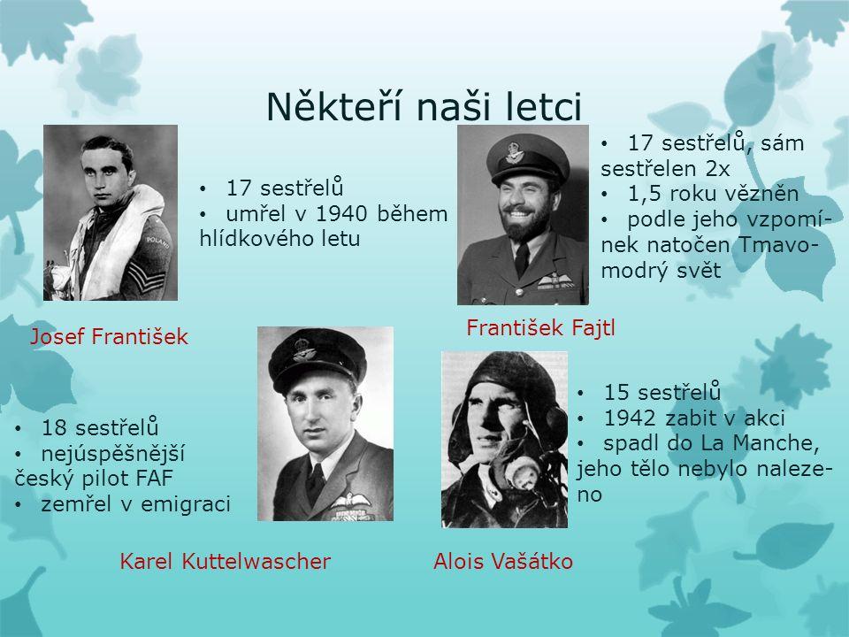 Někteří naši letci Josef František 17 sestřelů umřel v 1940 během hlídkového letu Karel Kuttelwascher 18 sestřelů nejúspěšnější český pilot FAF zemřel v emigraci František Fajtl 17 sestřelů, sám sestřelen 2x 1,5 roku vězněn podle jeho vzpomí- nek natočen Tmavo- modrý svět Alois Vašátko 15 sestřelů 1942 zabit v akci spadl do La Manche, jeho tělo nebylo naleze- no
