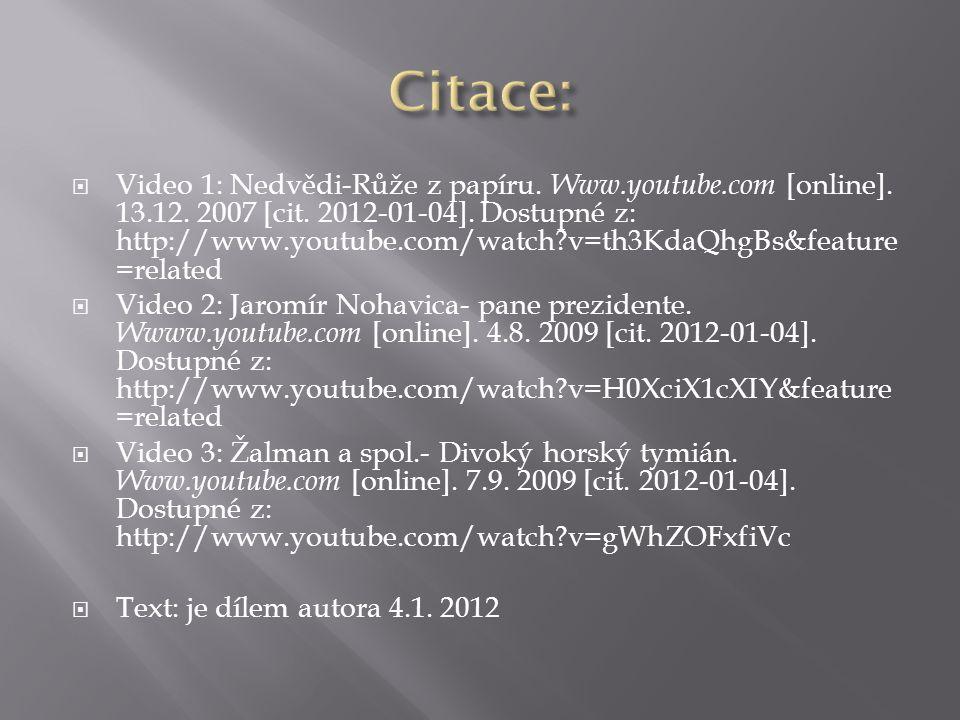  Video 1: Nedvědi-Růže z papíru. Www.youtube.com [online].